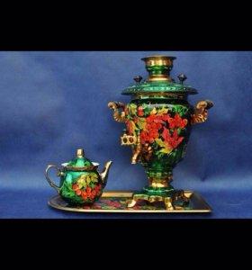 Набор самовар 3 литра + чайник+поднос с росписью