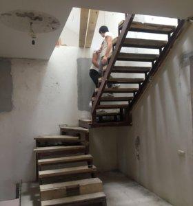 Металлический каркас лестниц. Ступени, перила и др