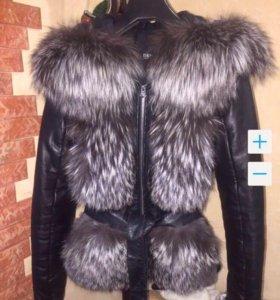 Куртка-жилетка комбинированная мехом чернобурки