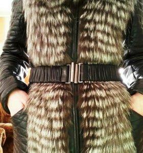 Куртка из кожи с мехом из чернобурки