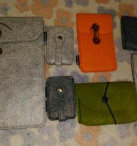 Новые войлочные чехлы, ключницы,сумочки