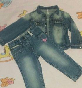 Джинсовый костюм для девочки р-р 80