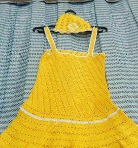 Летний сарафан и шапочка для девочки 1-3 года