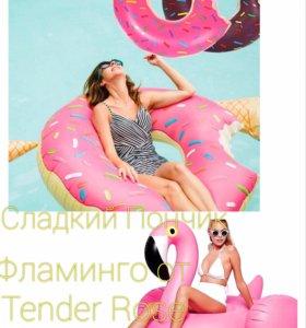 Круг надувной пончик фламинго