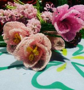 Цветы и деревья из бисера. тюльпаны