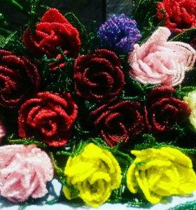 Цветы из бисера. Ручная работа. Розы
