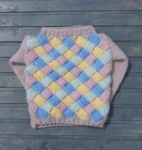 Вязаный шерстяной оверсайз свитер (энтерлак)