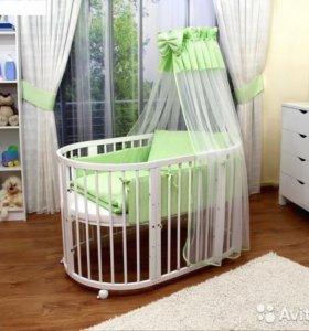 Кроватка детская трансформер (овальная)