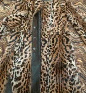 шуба леопард мех аццелот