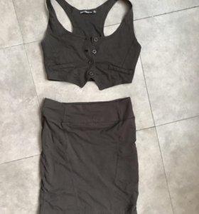 Комплект юбка+жилетка+блузка xs