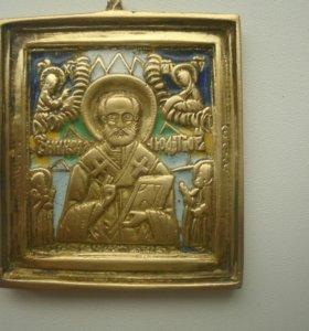 Старинная старообрядческая литая икона с эмалью