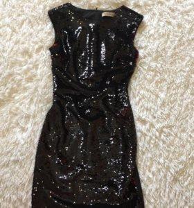 Очень крутое дизайнерское платье с пайетками, 2 цв