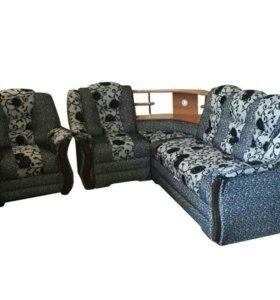 """0301 диван угловой """"Аделина"""" с баром и креслом"""