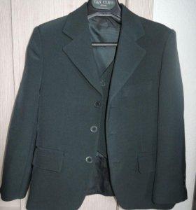 Пиджак и жилет для школы темно-зеленые на 7-10 лет