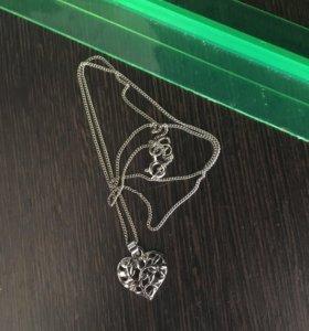 Серебряная цепочка с серебряным кулоном