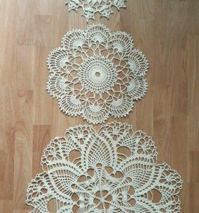 Вязаные ажурные салфетки, диаметр 58, 39, 32 см