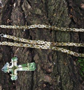 Цепочка плоская 55 см+браслет +крестик