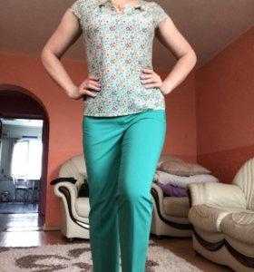 Блузка, брюки . Комплект .Брюки высокая талия !