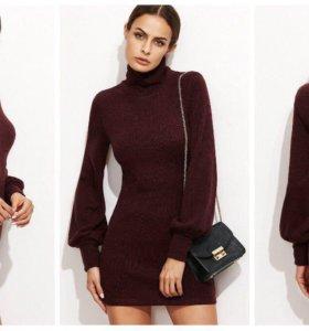 Бордовое тёплое платье