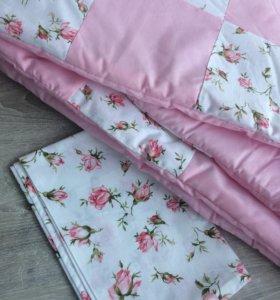 Стёганное лоскутное одеяло с наволочкой