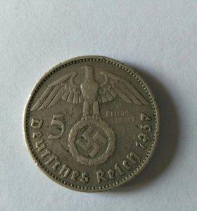 5 рейхсмарок 1937 Е