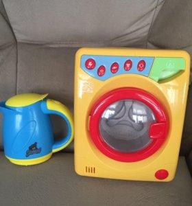 Стиральная машинка и чайник и утюг