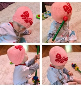 Детская вязаная шапочка Бабочка