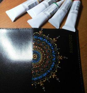 Обложка для паспорта. Точечная роспись