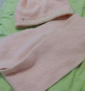 Шапка и шарф комплект для девочки