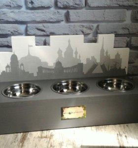 Кормушка для кошек и собак Питер на 3 чаши