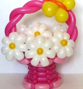 Корзины с цветами из шаров