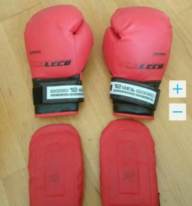 Перчатки боксерские 12 унций+ накладки Leco