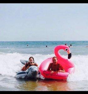 Надувной круг розовый фламинго новый лебедь