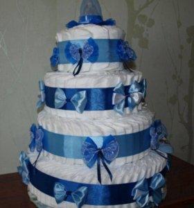 Тортик из памперсов!!!💞💞💞