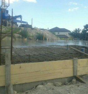 Строительство дома, бетонные работы.