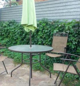 Набор стол,стулья,зонт