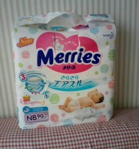 Подгузники Merries NB 0-5кг 90шт