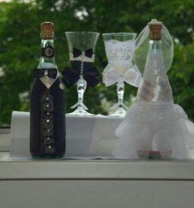 Оформление свадебных фужеров, шампанского и очага