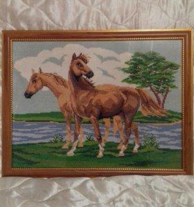 """Вышивка """"Лошади на лугу"""""""