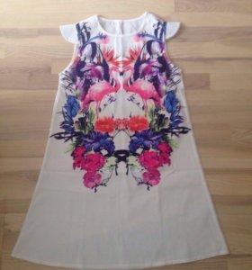 Легкое летнее платье с фламинго