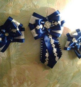 Школьные аксессуары(2 резинки +галстук брошь)
