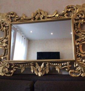 Зеркало Мальер золото 1200*900