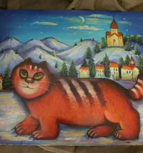 Картина зимний кот