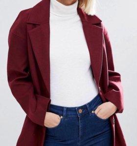 Бордовое пальто asos