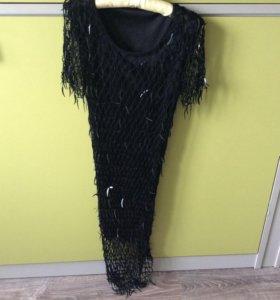 Эффектное вечернее чёрное платье
