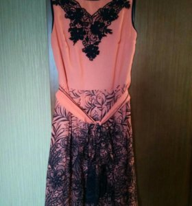 Платье шифон, р48-50, с поясом, состояние отличное