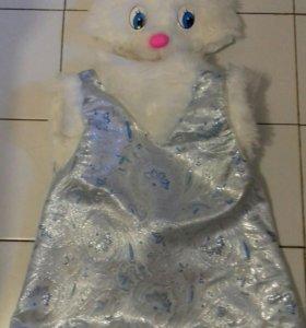 Новогодний костюм зайки-девочки