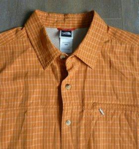Рубашка The North Face L оранжевая в клетку