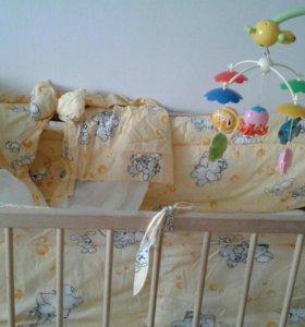 Кроватка+матрас+бортики+мобиль+развив.коврик