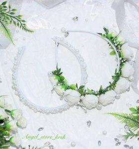 Ободки с цветами/бусинами в белом цвете